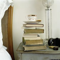 This warms my heart as a book and tea lover! book piles