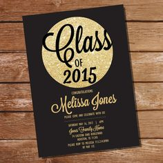 Black and Gold Graduation Invitation  Gold by SunshineParties......Lovely invitation!