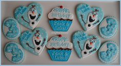 Birthday cookies with Olaf from Frozen :)
