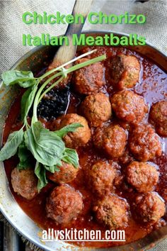 Ground chicken meatballs seasoned with some tasty beef chorizo makes meatballs just a tad bit healthier! #easymeatball #chickenmeatball Beef Chorizo, Chicken Chorizo, Ground Chicken Meatballs, Pheasant Recipes, My Favorite Food, Favorite Recipes, Dinner Recipes, Easy Recipes, Dinner Ideas
