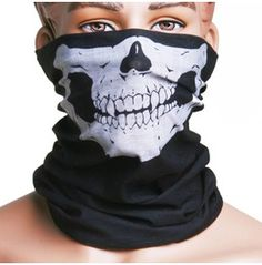 Skull Printed Black Face Mask Scarf