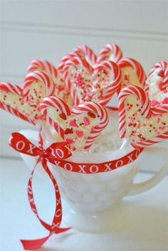 heart candy cane suckers