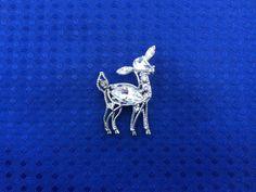 Vintage Rhinestone Deer Brooch Silver Marquis by NeutralNellies