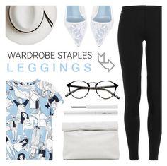 """Wardrobe Staples: Leggings"" by c-silla ❤ liked on Polyvore featuring Ralph Lauren Blue Label, Monki, Calypso Private Label, Marie Turnor, Manolo Blahnik and Estée Lauder"