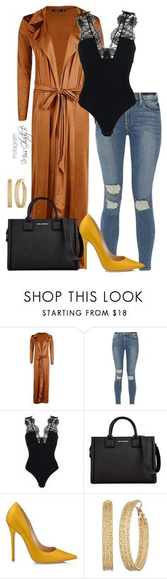 """Tear It Up"" by gladybaby ❤ liked on Polyvore featuring Boohoo, Frame, Christies à Porter, Karl Lagerfeld, GUESS, DateNight, NightOut, bodysuit, distresseddenim and duster"