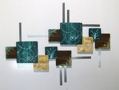 Beautiful Contemporary Abstract Floral Wall Sculpture Teal & Brown Wood Art with Metal - $399.99