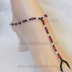 seed beaded jewelry | Fuchsia Crystal Jet Seed Beaded Foot Jewelry