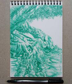 Lidia Barragán. #sketch #tree #dibujo #arbol #sketchbook #sharpie #pen #green
