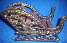small Mini Sled Christmas Decorative Metal & Wood Slats Vintage Collectible NR