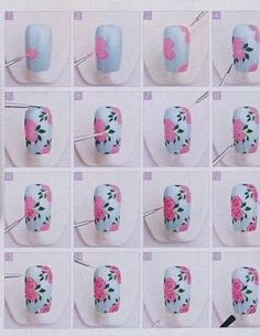 Want to have a crack at nail art? Looking for cute and easy nail art ideas and designs? Here are some fun DIY nail art tutorials for you to try out! Rose Nail Art, Floral Nail Art, Nail Art Diy, Diy Nails, Diy Rose Nails, Rose Nails Tutorial, Flower Tutorial, Galeries D'art D'ongles, Nagellack Design