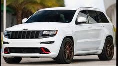 Tires Custom Jeep Grand Cherokee With Red Accents And Vossen Wheels 1 2011 Rims White Jeep Grand Cherokee, Jeep Grand Cherokee Srt, Lifted Jeep Cherokee, Lifted Jeeps, Jeep Cars, Jeep 4x4, Sport Truck, Sport Cars, Station Wagon