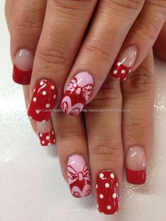Pink,+red+and+white+Minnie+Mouse+nail+art