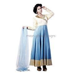 Embellished Georgette Anarkali With Net Scarf