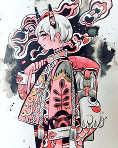 Tweets con contenido multimedia de ○ (@maruti_bitamin) | Twitter Character Art, Character Design, Goth Art, Cute Drawings, Cool Artwork, Flower Art, Watercolor Art, Fantasy Art, Illustration Art