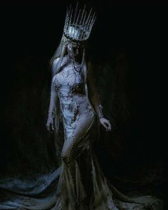 """""""Night Mother"""" Worked on something wonderful and terrifying yesterday with @chadmichaelward_photographer  Me and my ladies were #iceGoddess queens and in this shot I look like a #statue O_O Gown by @michellehebertofficial  Crown by @missgdesigns  My other ladies involved are @reilena @creaturehabits @jennernugen  #fantasy #darkFantasy #gothic #icequeen #narnia #whitewitch #snow #icicle #iceprincess #fairytale #fae #faerie #unseelie #elven #goth"""