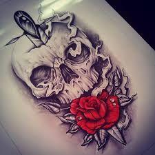 Skulls and Roses Skull Rose Tattoos, Leg Tattoos, Body Art Tattoos, Sleeve Tattoos, Cool Tattoos, Tattoo Roses, Knife Tattoo, Dagger Tattoo, Tattoo Sketches