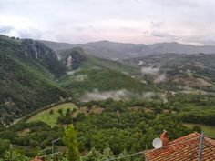 The view from the castle in Rocchette di Fazio in to  the Roccone natural park