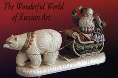 Hand-carved and hand-painted russian santa's and carvings, hand ...