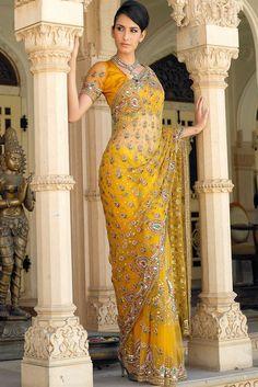 Yellow Net Saree with Kundan & Antique work