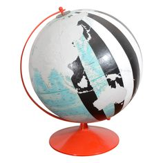 Vintage, Hand Painted Globe by Dylan Egon. Gorgeous focal point for living room. Globe Art, Map Globe, Painted Globe, Hand Painted, Globe Crafts, Vintage Globe, World Globes, Trendy Furniture, Map Art