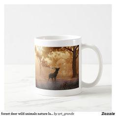 forest deer wild animals nature landscape coffee mug