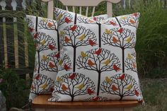 Birds in Tree Indoor/Outdoor Pillow Cover by nest2impress on Etsy,