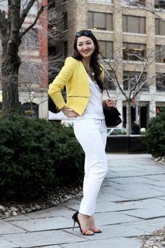 Yellow blazer and white jeans