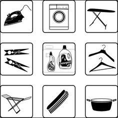 """Stickers """"board, tray, washing - laundry"""" ✓ Makkelijke montage ✓ 365 dagen voor retourneren ✓ Bekijk andere designs van deze collectie!"""