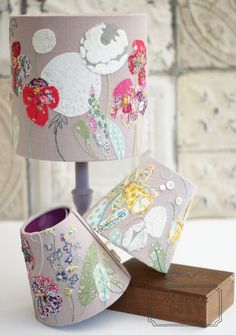 DIY Kits & Resources to Make Custom Light Fixtures and Lampshades Fabric Remnants, Fabric Scraps, Home Crafts, Diy And Crafts, Deco Luminaire, Art Textile, Lamp Shades, Decoration, Hand Embroidery
