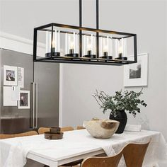 Post modern New Nordic rectangular Restaurant dining room Kitchen table cafe  lustres pendant lights suspension luminaire lamp-in Pendant Lights from Lights & Lighting on Aliexpress.com | Alibaba Group