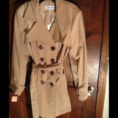 """Selling this """"CALVIN KLEIN BELTED DRESS TRENCH COAT sz XL, NWT"""" in my Poshmark closet! My username is: backbend31. #shopmycloset #poshmark #fashion #shopping #style #forsale #Calvin Klein #Outerwear"""
