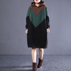 Winter Loose Stitching Sweater Dress Look Fashion, Winter Fashion, Womens Fashion, Modest Fashion, Fashion Dresses, Winter Sweater Dresses, Hijab Fashion Inspiration, Ulzzang Fashion, Hijab Outfit