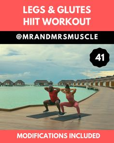 Legs & Glutes Workout - Maldives Edition: Tone your Legs and build your Glutes in this POWERFUL HIIT Workout at Home or the - Hiit Workout Routine, Hiit Workout Videos, Full Body Hiit Workout, Hitt Workout, Hiit Workout At Home, Gym Workout Tips, Workout Challenge, At Home Workouts, Couples Workout Routine