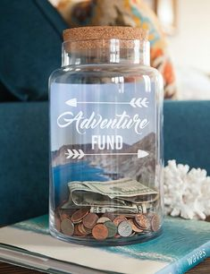 Travel Fund Decal Money Jar Vinyl Only Travel Gifts Traveller Gifts Adventure Funds Money Box Piggy Bank saving jar Adventure Awaits Travel Fund, Travel Gifts, Fun Travel, Travel Ideas, Don D'argent, Change Jar, Savings Jar, Tip Jars, 30 Gifts