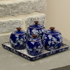 temp-tations®+by+Tara:+temp-tations®+Floral+Lace+Condiment+Set+with+Tray