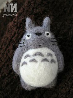Totoro brooch made with felted merino wool.