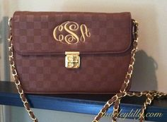 Monogrammed Sarah Bag- comes in brown, red and black!