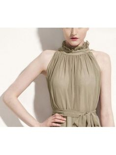 Mandarin Collar Belt Khaki Pleated Chiffon Dress