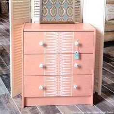 Stenciled Dresser Drawers with African Patterns - Tribal Furniture Stencils - Royal Design Studio Painted Furniture, Diy Furniture, Furniture Design, Furniture Stencil, Furniture Projects, Diy Home Decor Projects, Home Decor Trends, Stencil Dresser, Small Scale Furniture