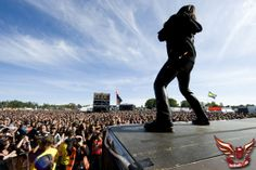 Soelvesborg, Sweden - June 2010:  Atmosphere amongst the festival audience during one of the live performances at the Sweden Rock Festival, ...