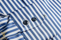 De Oost Bespoke Tailoring - Blue Bengal Stripe Broadcloth Dress Shirt With 2 Buttoned Collar And Double Button Bevelled Cuffs-3