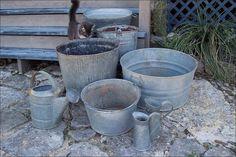 Galvanized Garden Planters ~ Bins Buckets Tubs ~ Containers ~ Online Flea ~ Artisanaworks