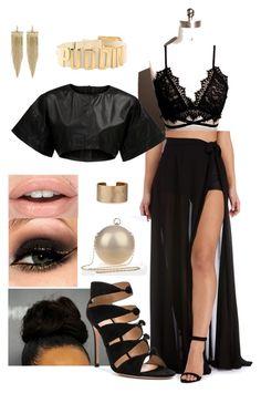 """Black Glam"" by ruama-haine on Polyvore featuring moda, VIPARO, Gianvito Rossi, Panacea e Kenneth Jay Lane"