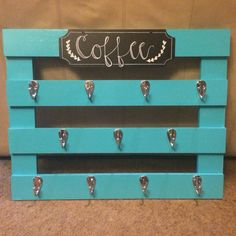 Homemade teal pallet coffee cup holder