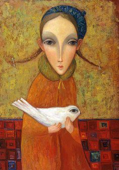 (Russia) Girl and White Bird by Sergey Smirnov (1953- 2006)