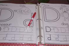 "DIY Write and Wipe Preschool Worksheets Idea made reusable from ""first-school"" website Preschool Writing, Preschool Worksheets, Preschool Kindergarten, Preschool Learning, Learning Tools, Learning Activities, Kids Learning, Activities For Kids, Learning Letters"