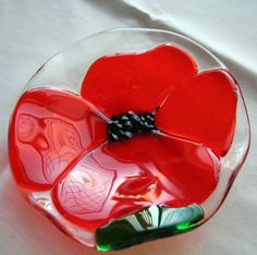 Orange poppy flower fused glass fluted bowl. $26.00, via Etsy.