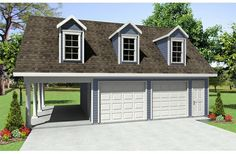 Garage plans with carports are detached garage plans designed with an attached carport. Garages with carports are available in many sizes and styles. Browse garage designs with carports. Garage Loft, 3 Car Garage Plans, Garage Plans With Loft, Carport Plans, Garage Apartment Plans, Carport Garage, Garage Apartments, Detached Garage, Garage Ideas