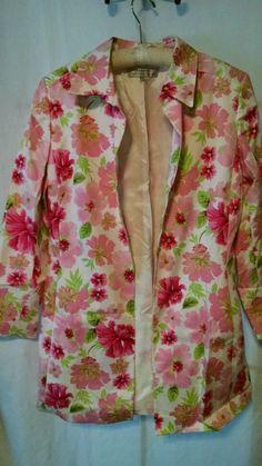 Tahari Coat Aurtur S Levine Size 14 Flowers Buttonless Front Spring Lined #Tahari #BasicCoat