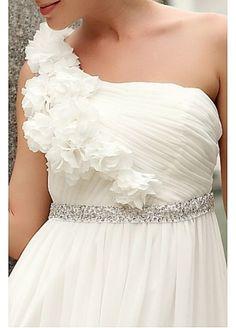 beautiful one shoulder wedding dress :)